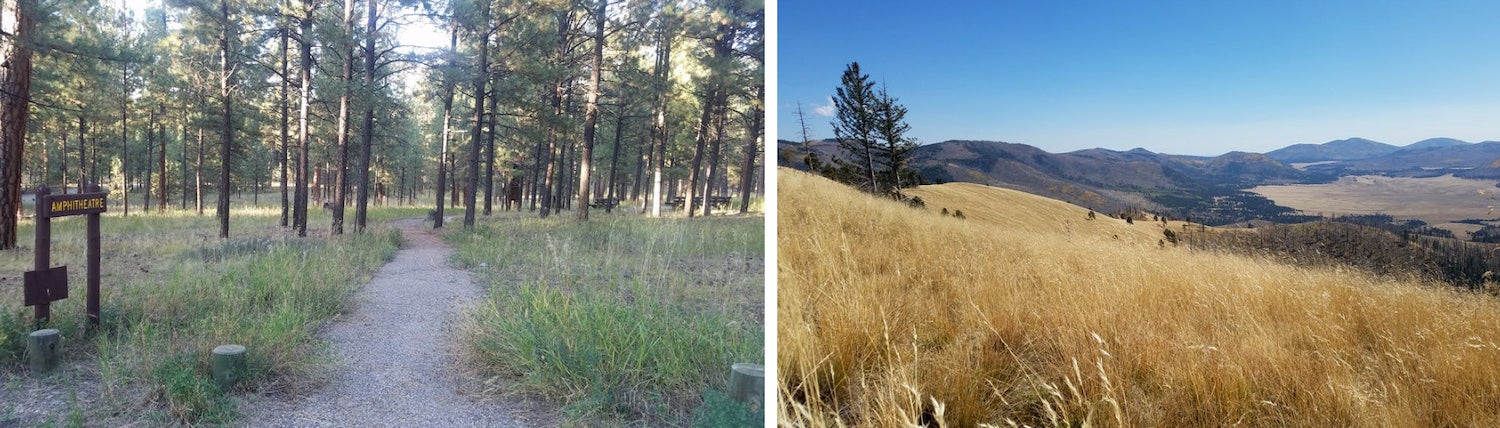 side by side photos of jemez falls campground and the surrounding area