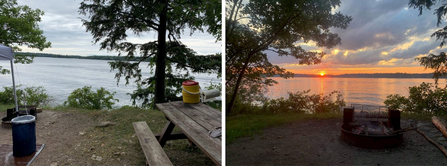 side by side photos of campground, one with picnic bench and other with firepit at sunset