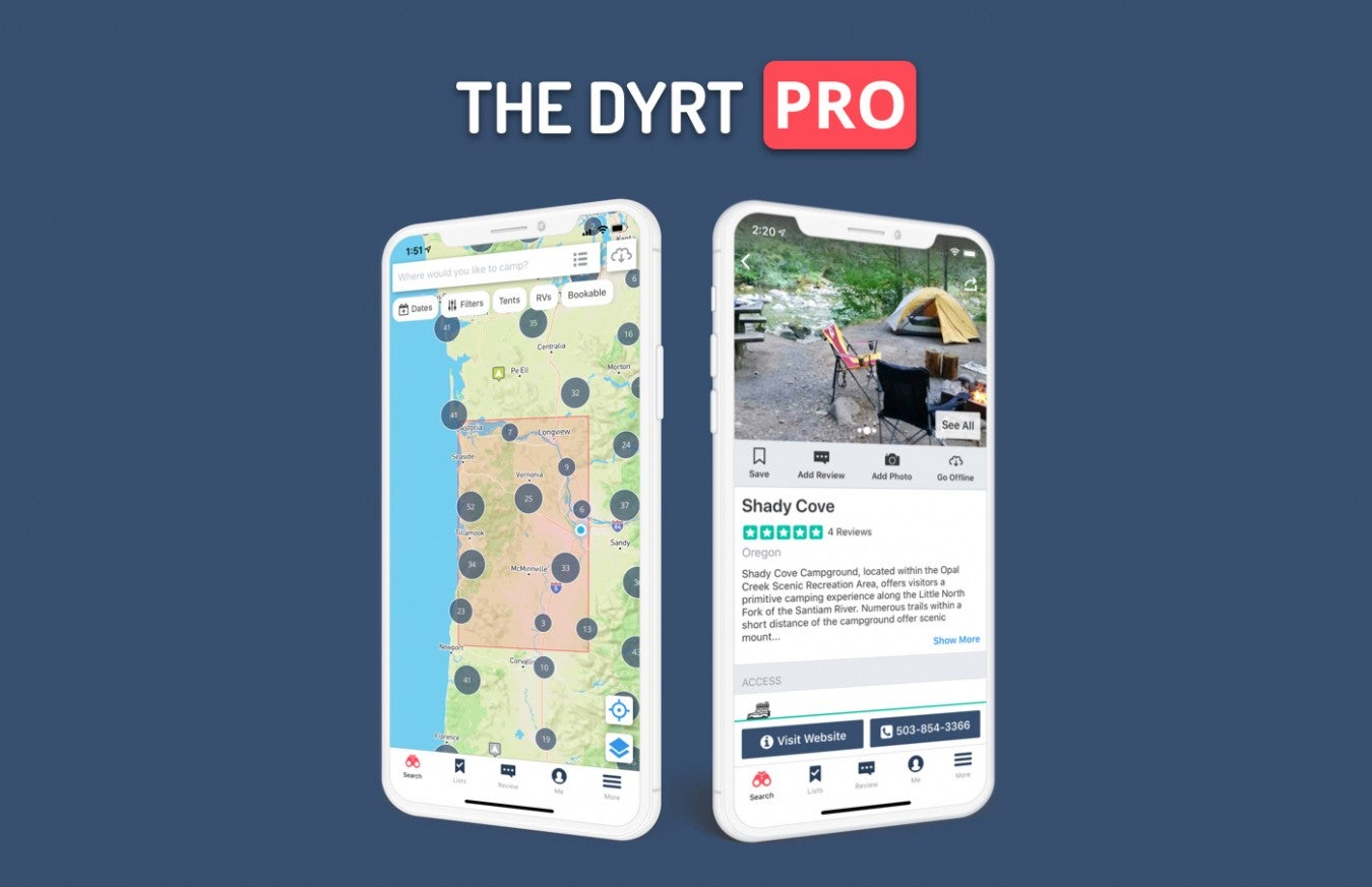 Two phones featuring The Dyrt's camping search user interface. The left has a map and the right has a description of a campground.