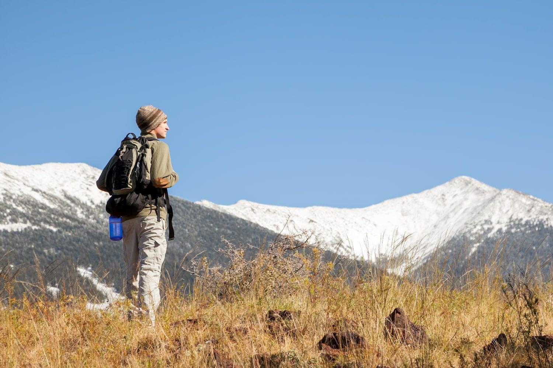 hiker looking at humphreys peak