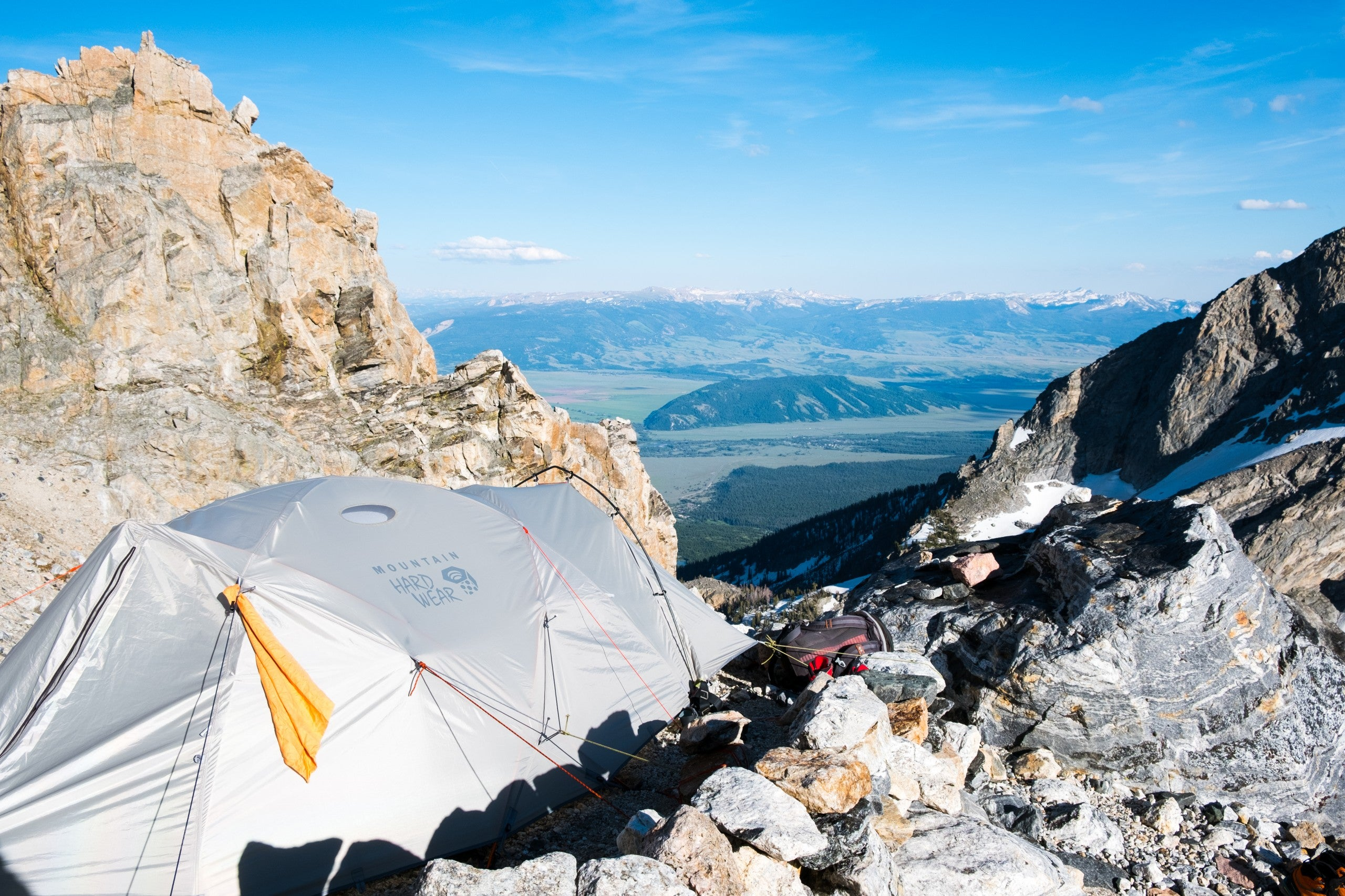 tent on a rocky mountain