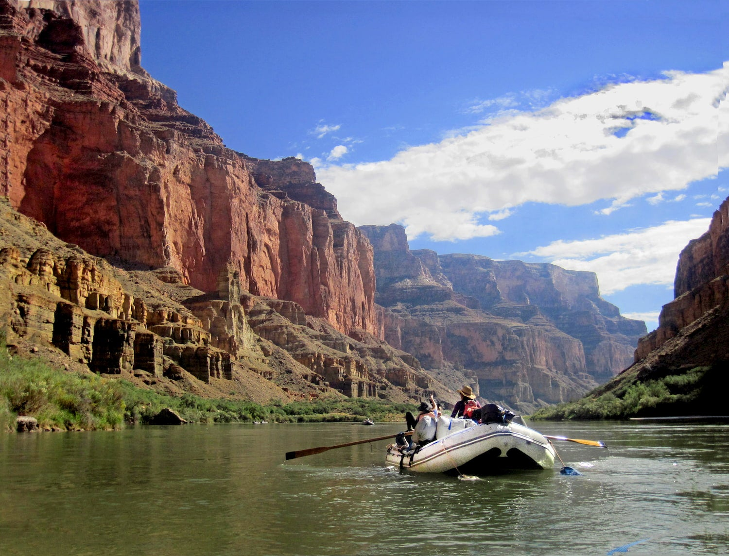 raft floating down colorado river