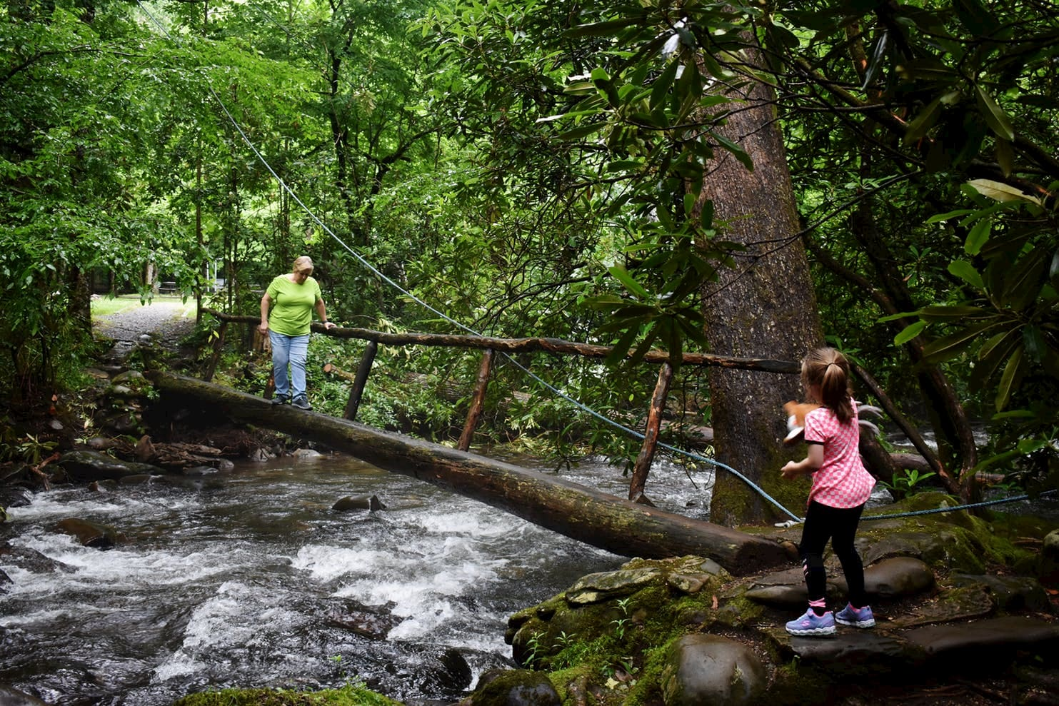 Young girl waiting for older women to cross tree log bridge across a river in the forest.