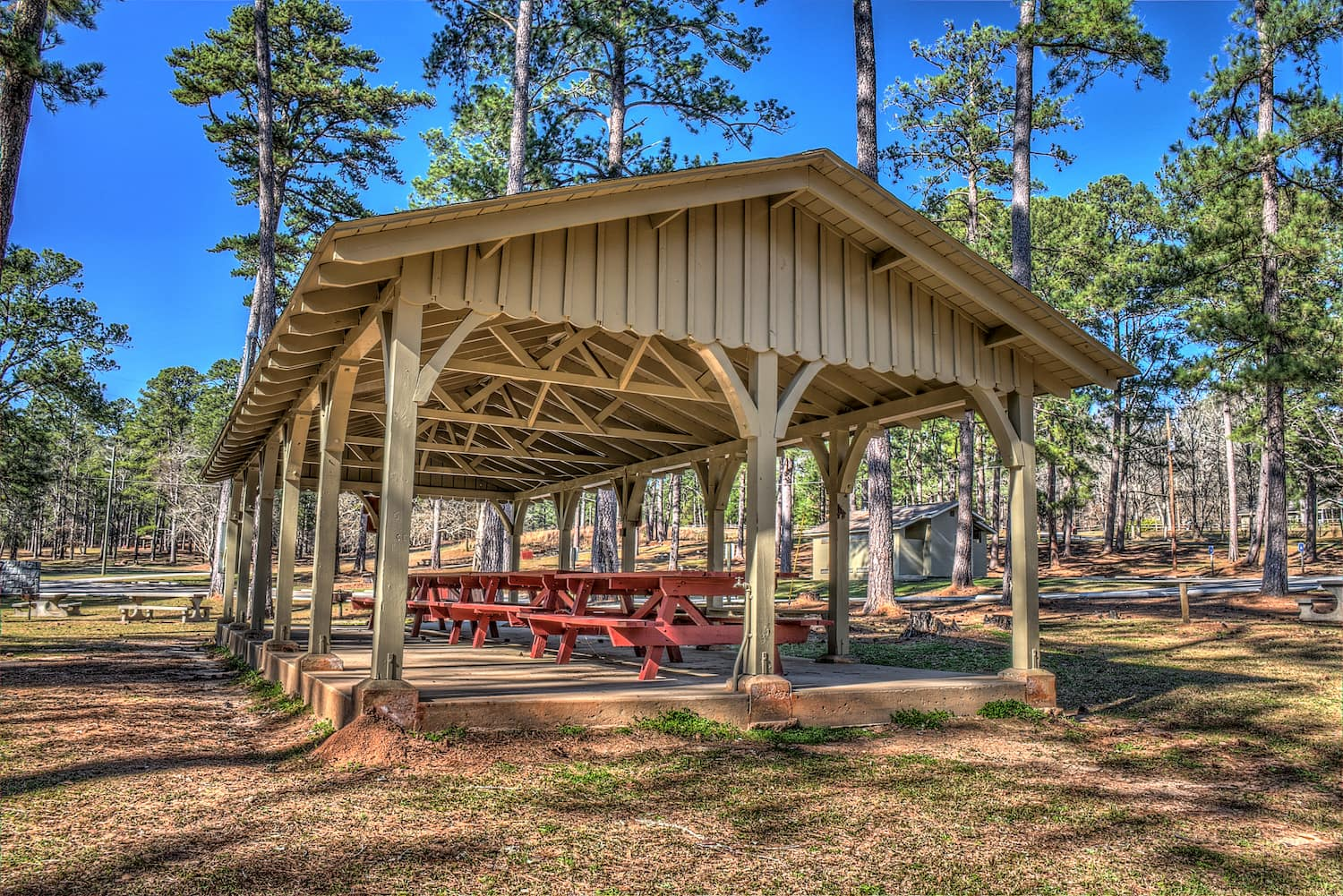 covered picnic benches at indian springs state aprk