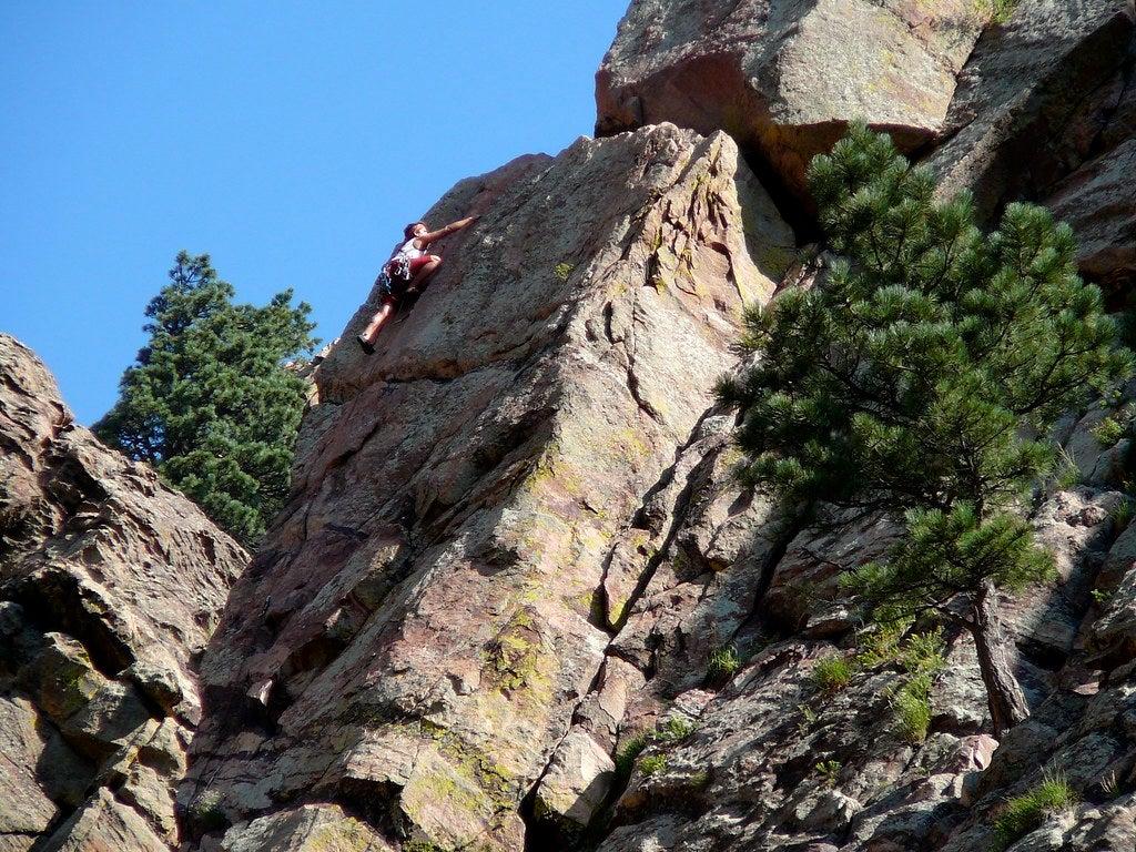 rock climber at Eldorado Canyon State Park
