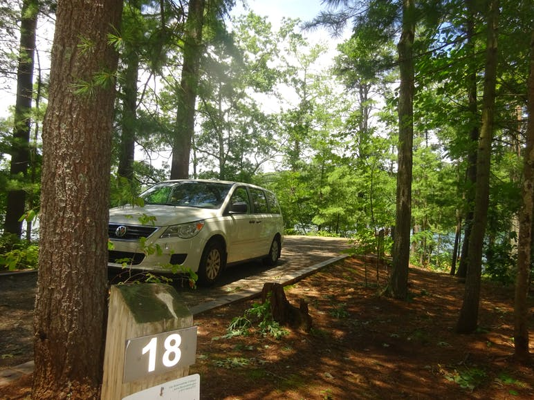 car parked at campsite at philpott lake
