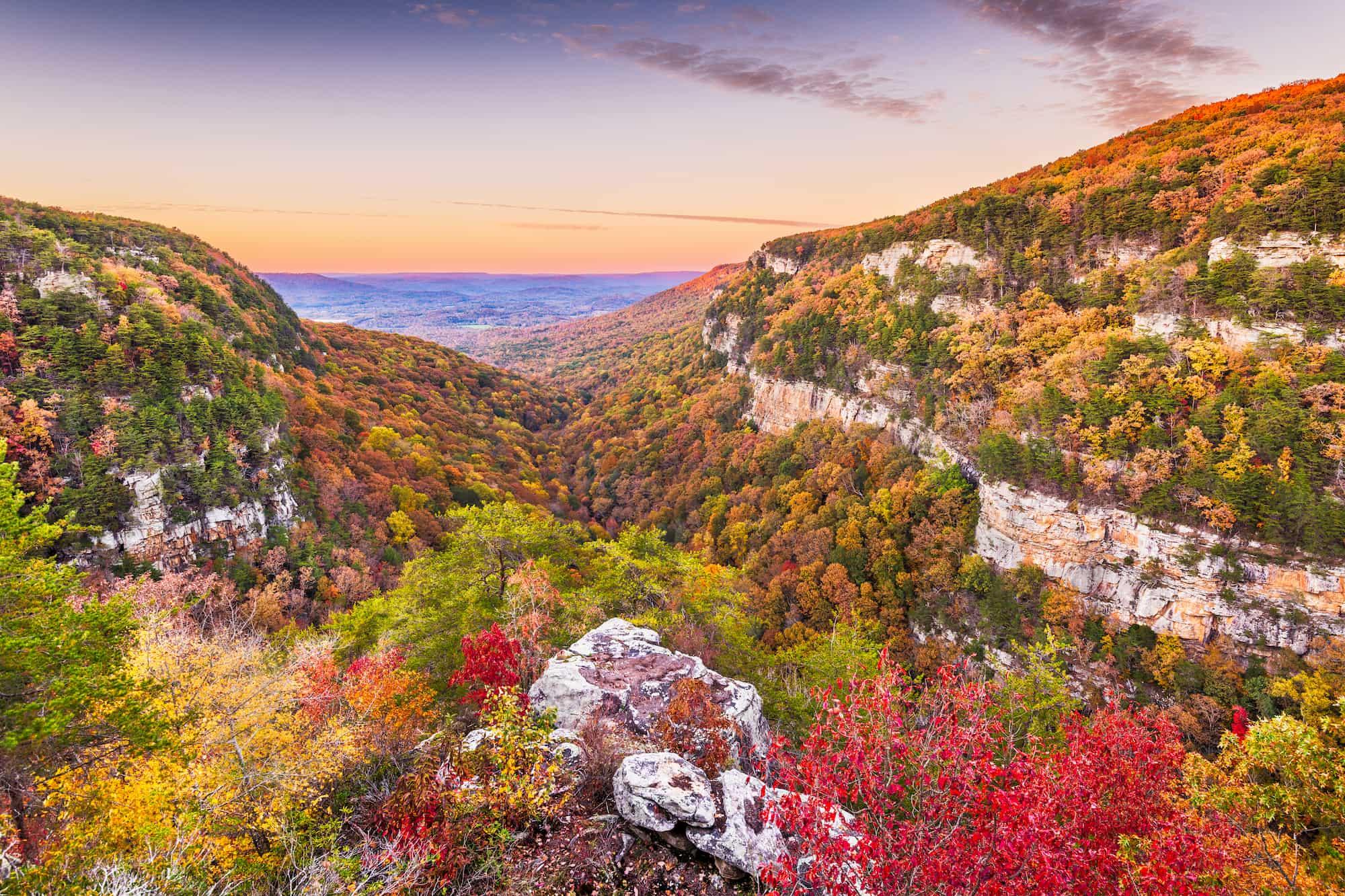 cloudland canyon at sunset during fall