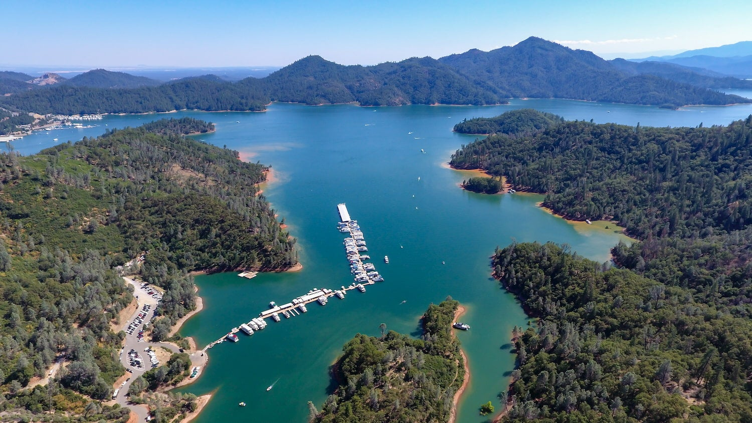 overview shot of shasta laka and marina