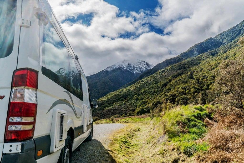 sprinter van and mountains