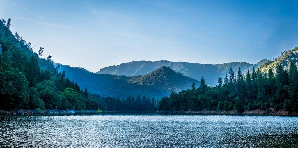 shasta lake after sunrise