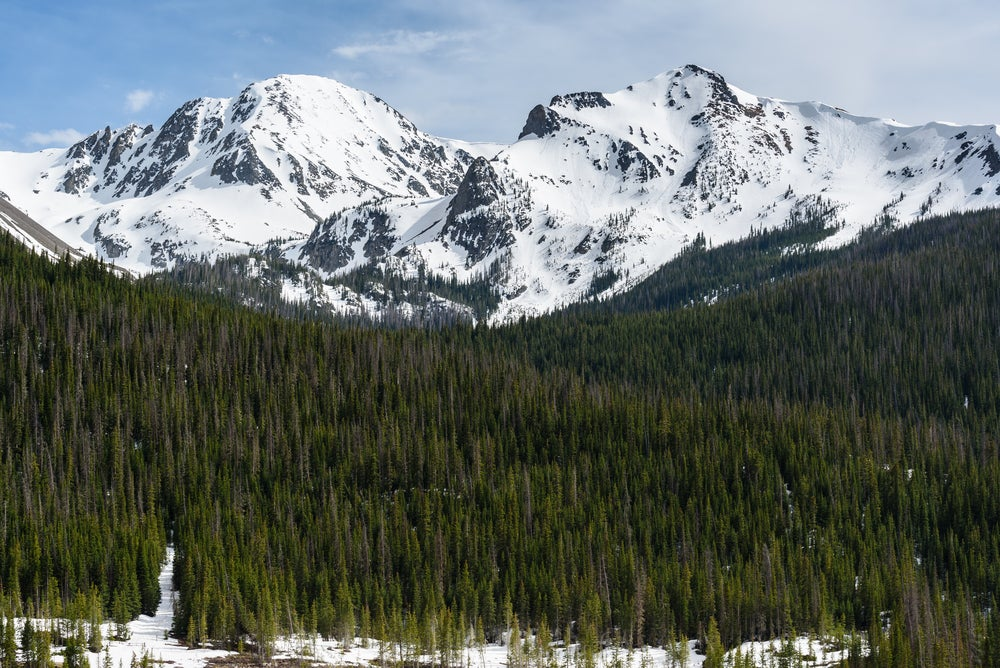 Snow capped peaks in State Forest State Park