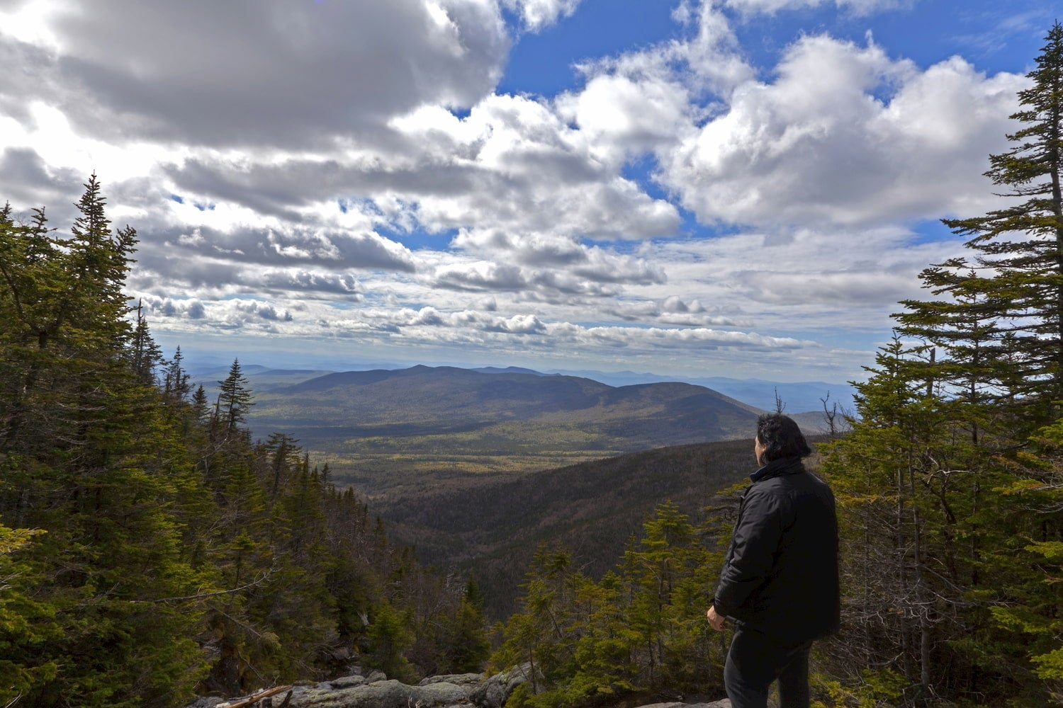 Man looking out from elevation on Mount Washinton via Ammonoosuc ravine trail in Coors County, New Hampshire.