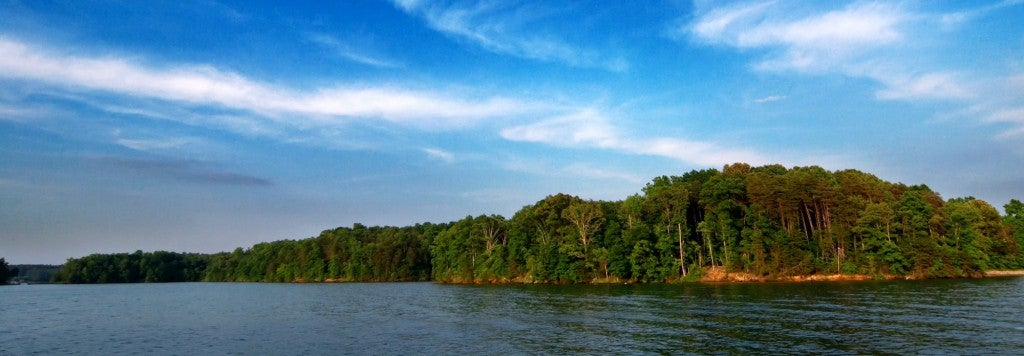 wispy clouds and trees above smith mountain lake