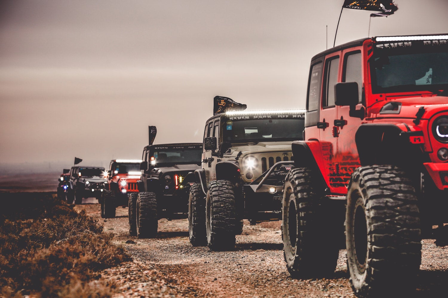 line of jeeps on road