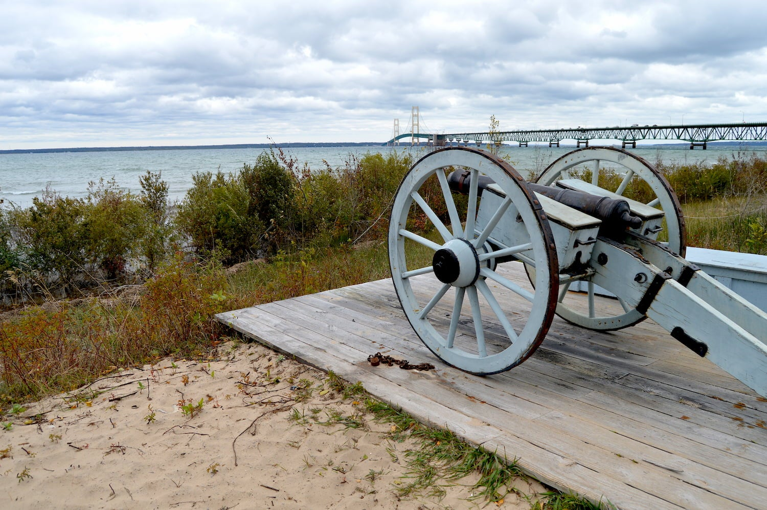 cannon on beach at straits state park