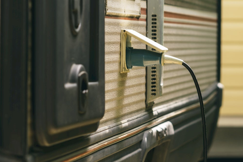 Electrical cord going into RV