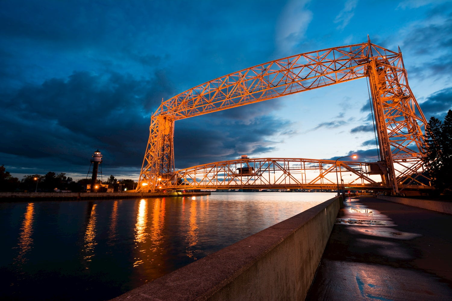ariel lift bridge at sunset in duluth minnesota