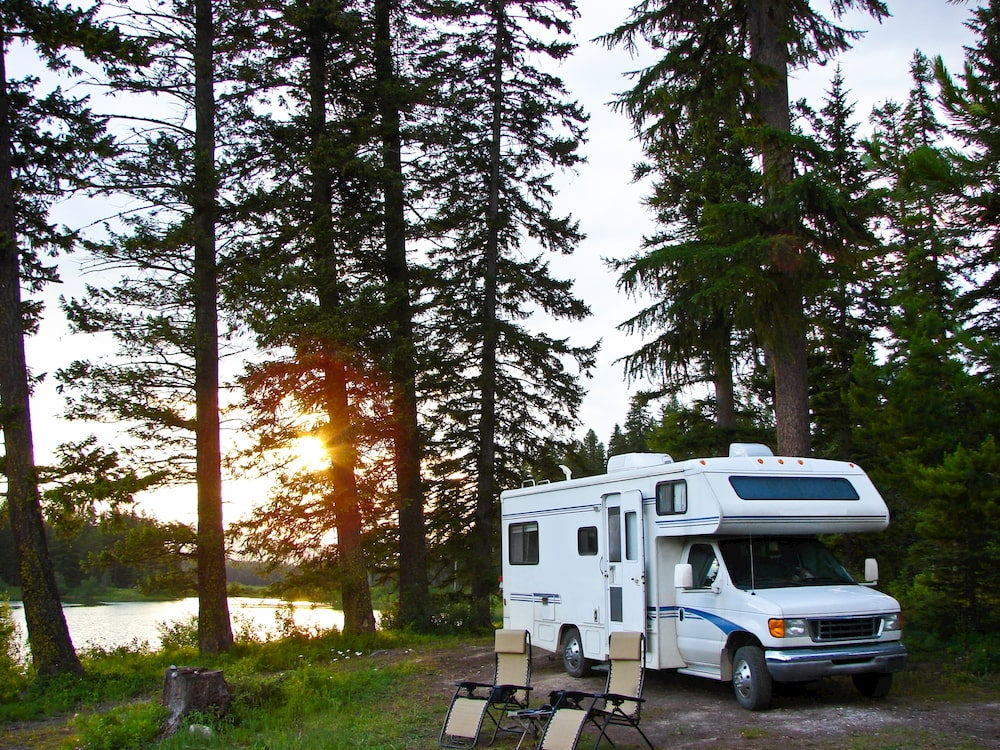 RV with woods in background