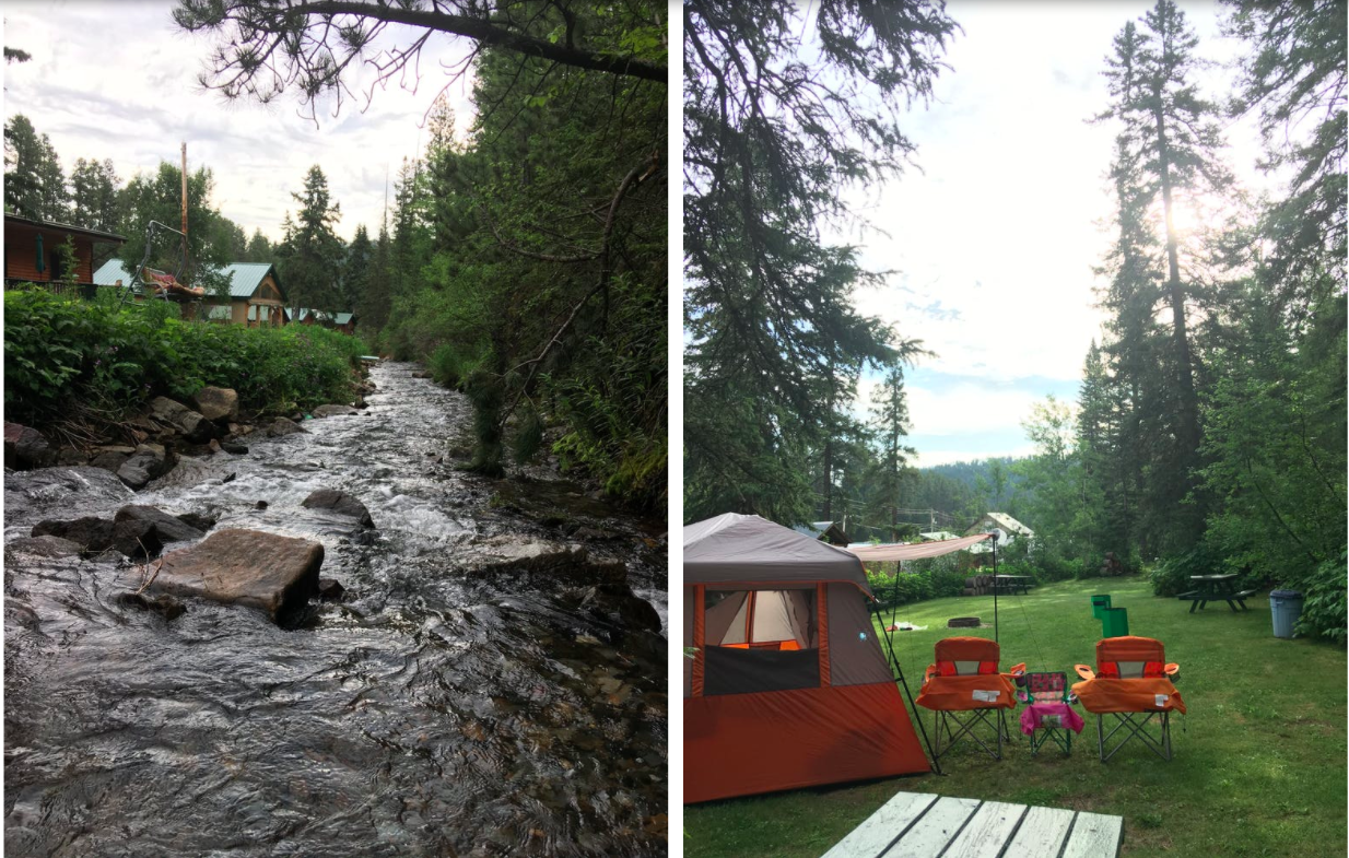 side by side images of campground and river