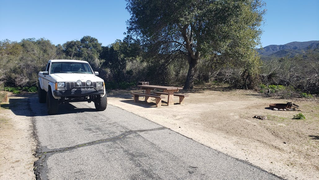 truck waiting at campsite