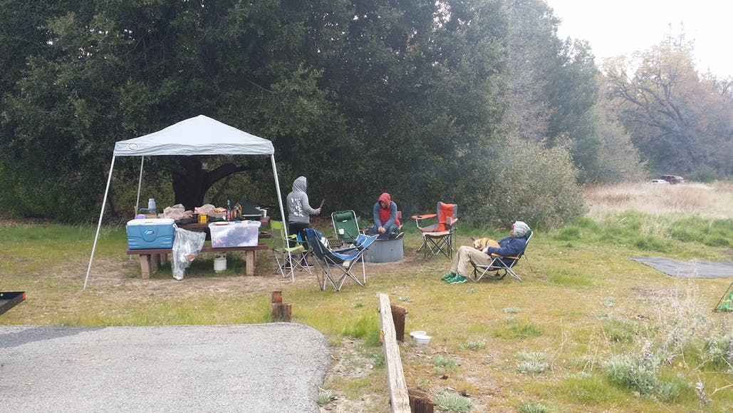 people hanging out around firepit palomar mountain state park camping