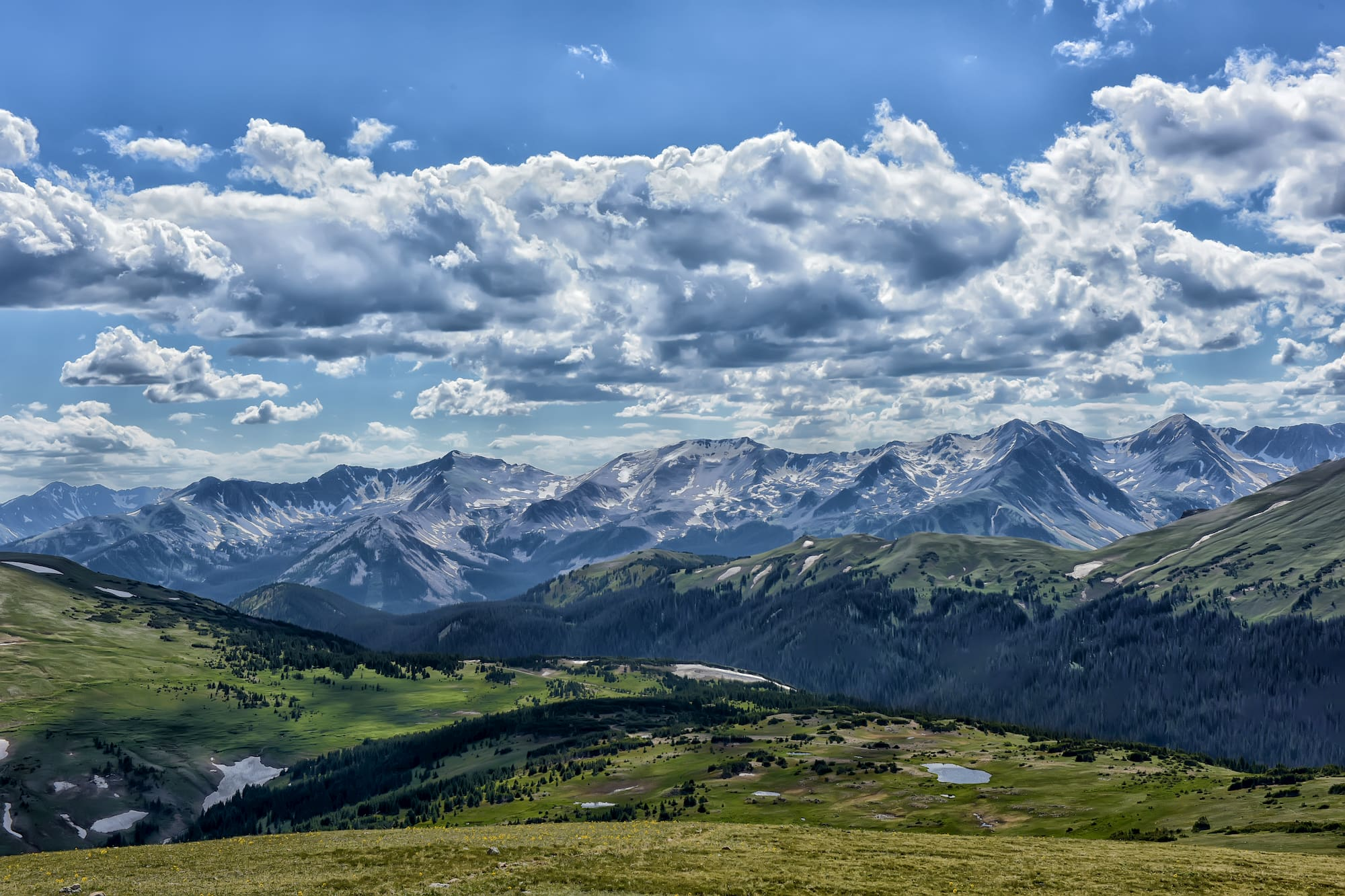 landscape shot of mountains and clouds