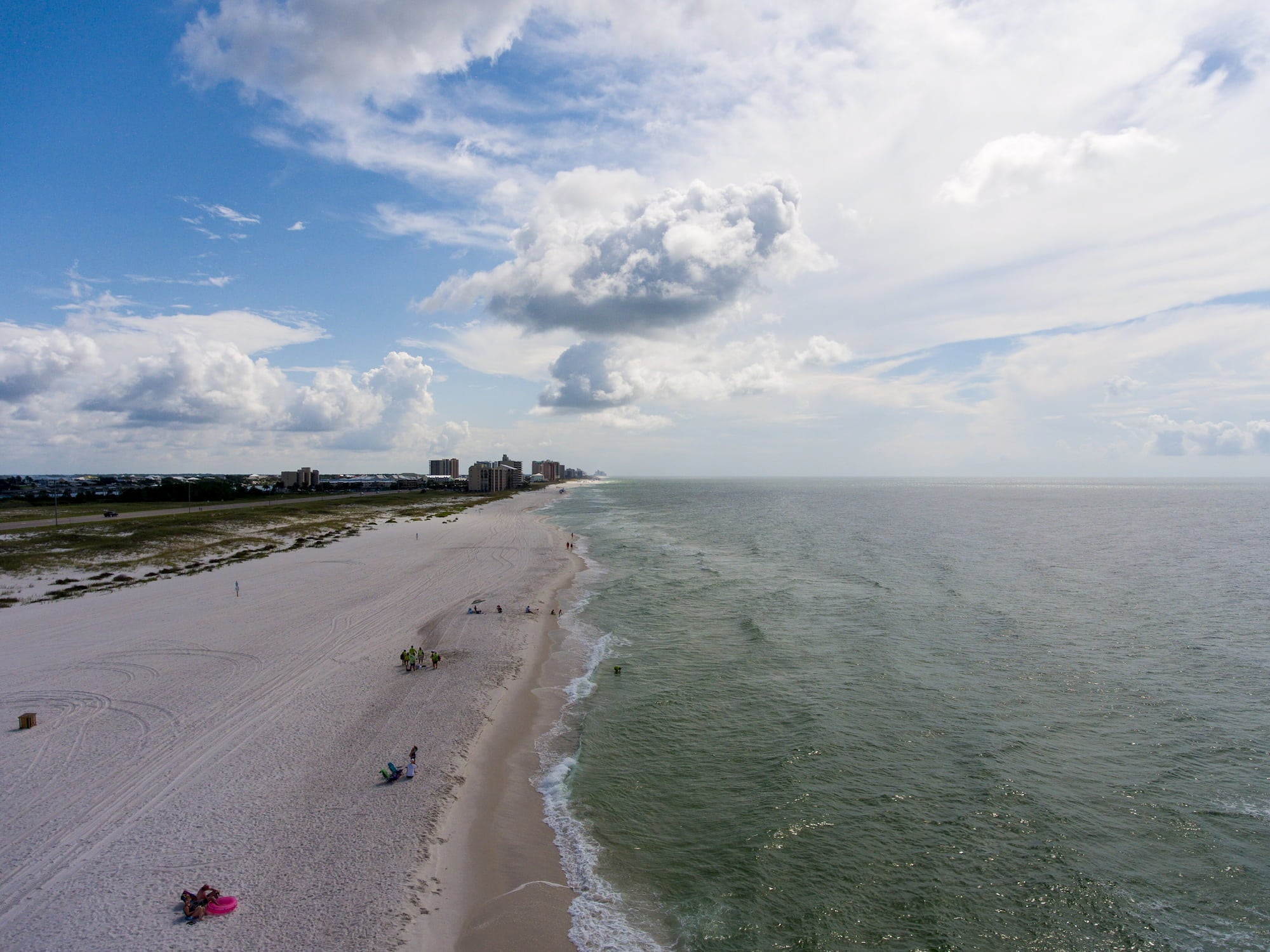 orange beach from a wide angle