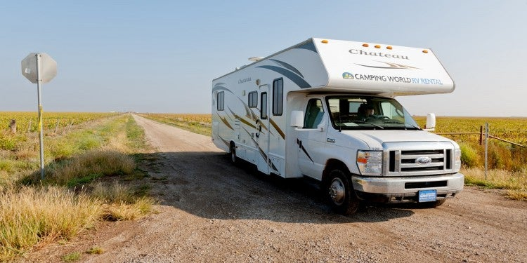 rv on dirt road