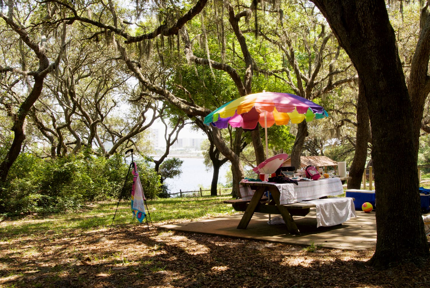picnic table at campground