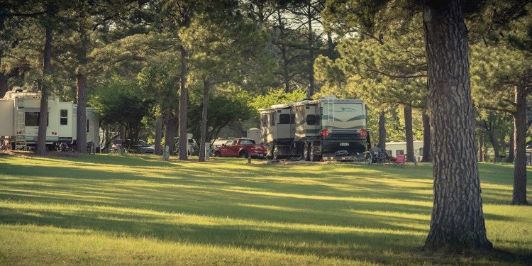 Wooded RV park in texas.