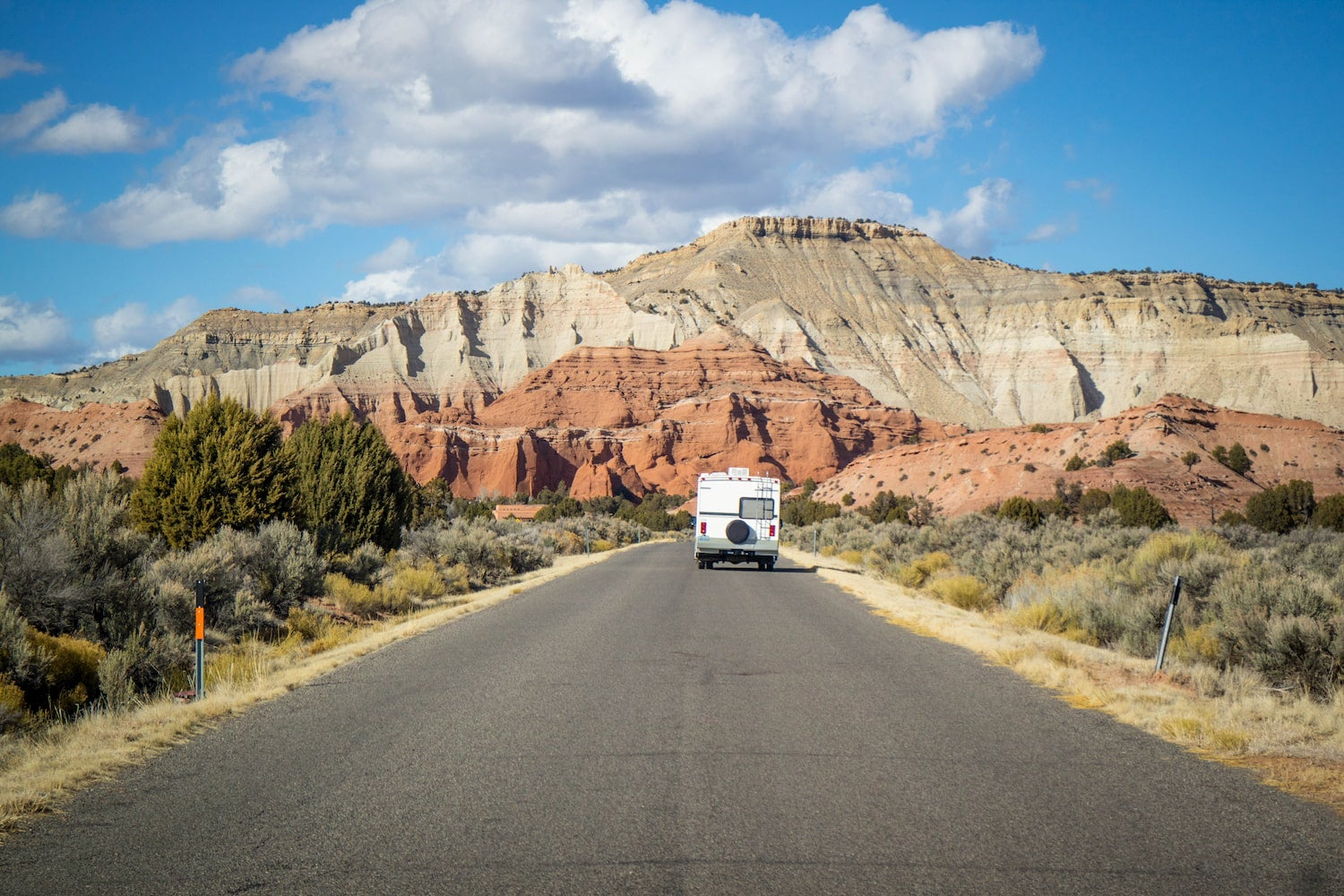 Rv on road at kodachrome state park