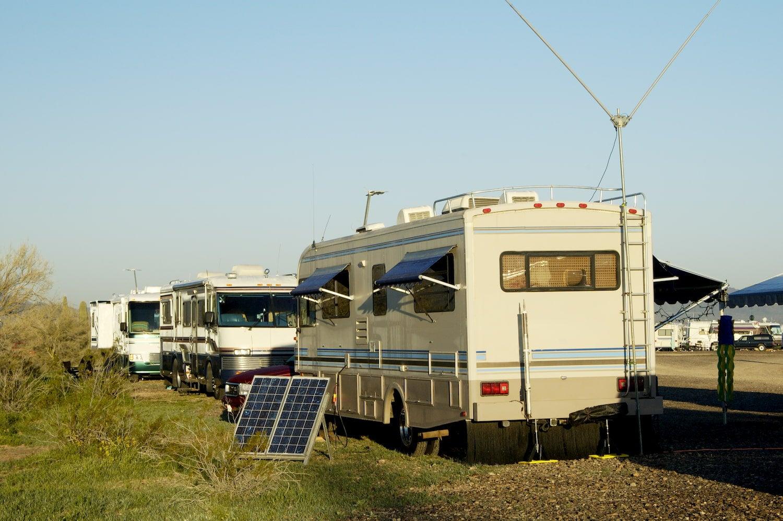 solar panel next to rv