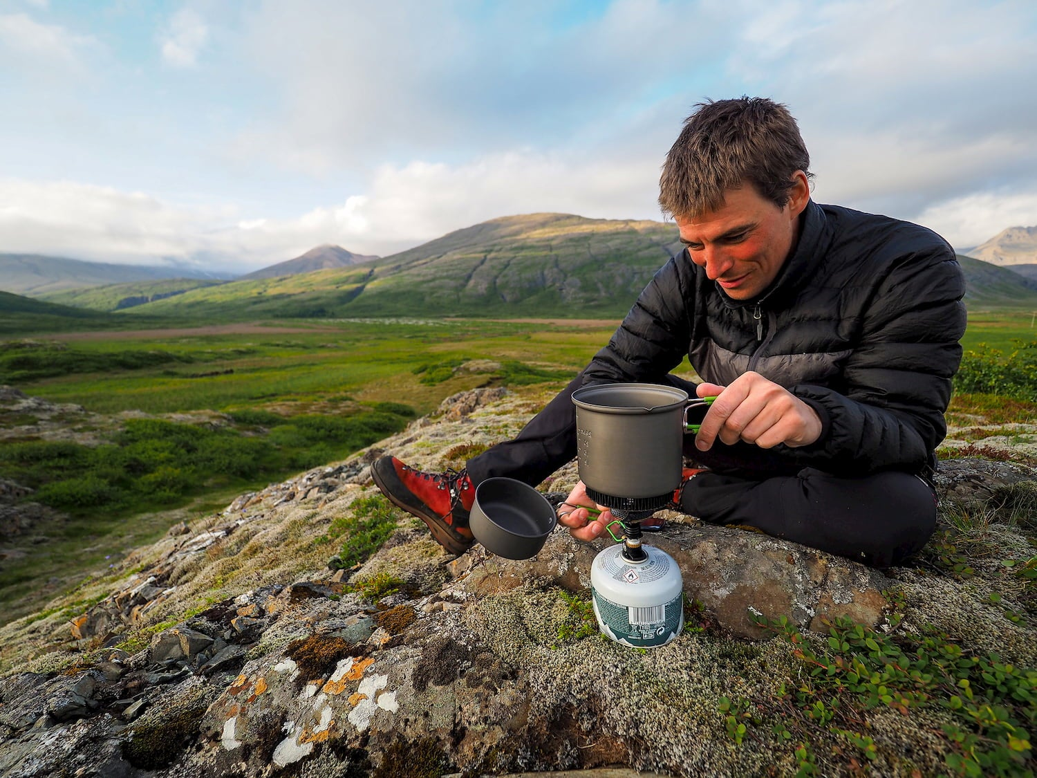boiling water on backpacking stove