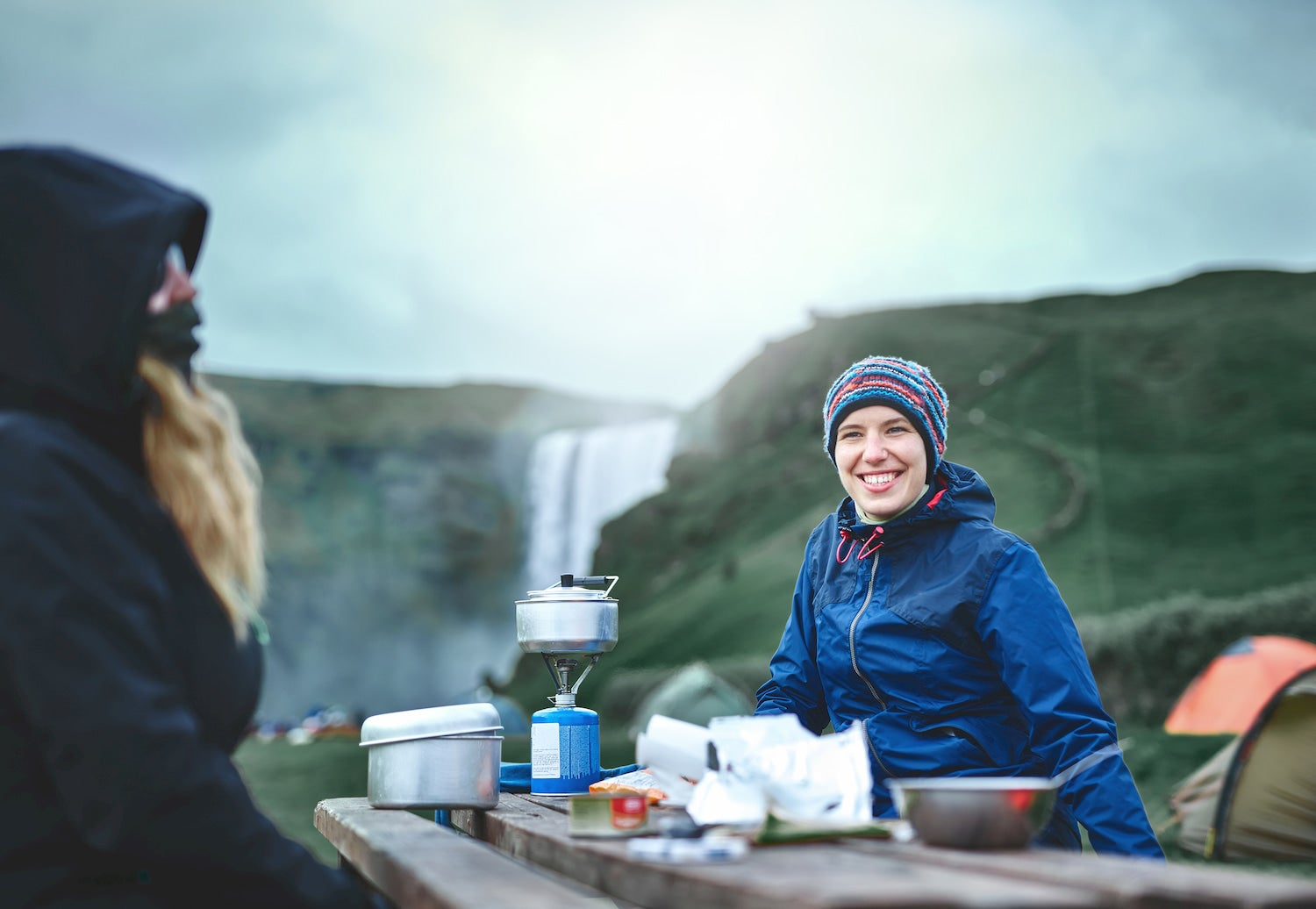 backpacking cooking at picnic table