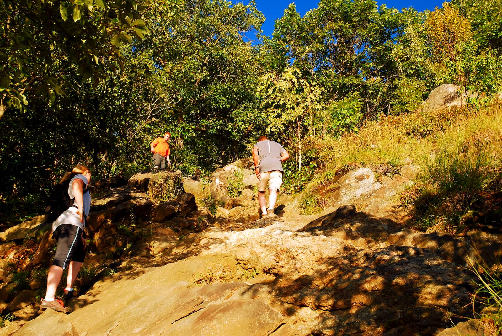 Three hikers walking up steep rocky path on Breakneck Ridge.
