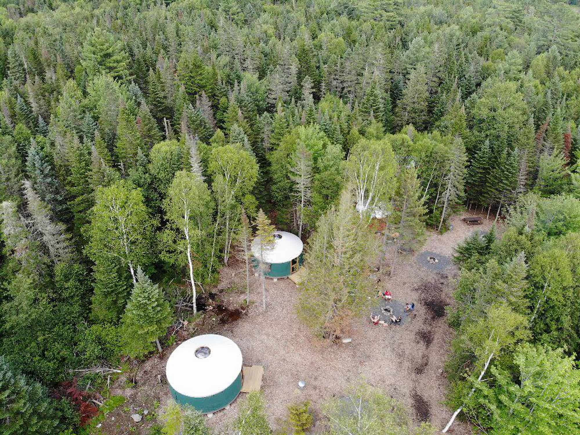 yurts and forest from above