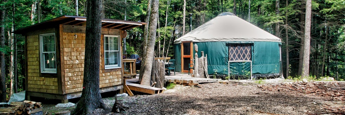 yurt and building at maine forest yurts