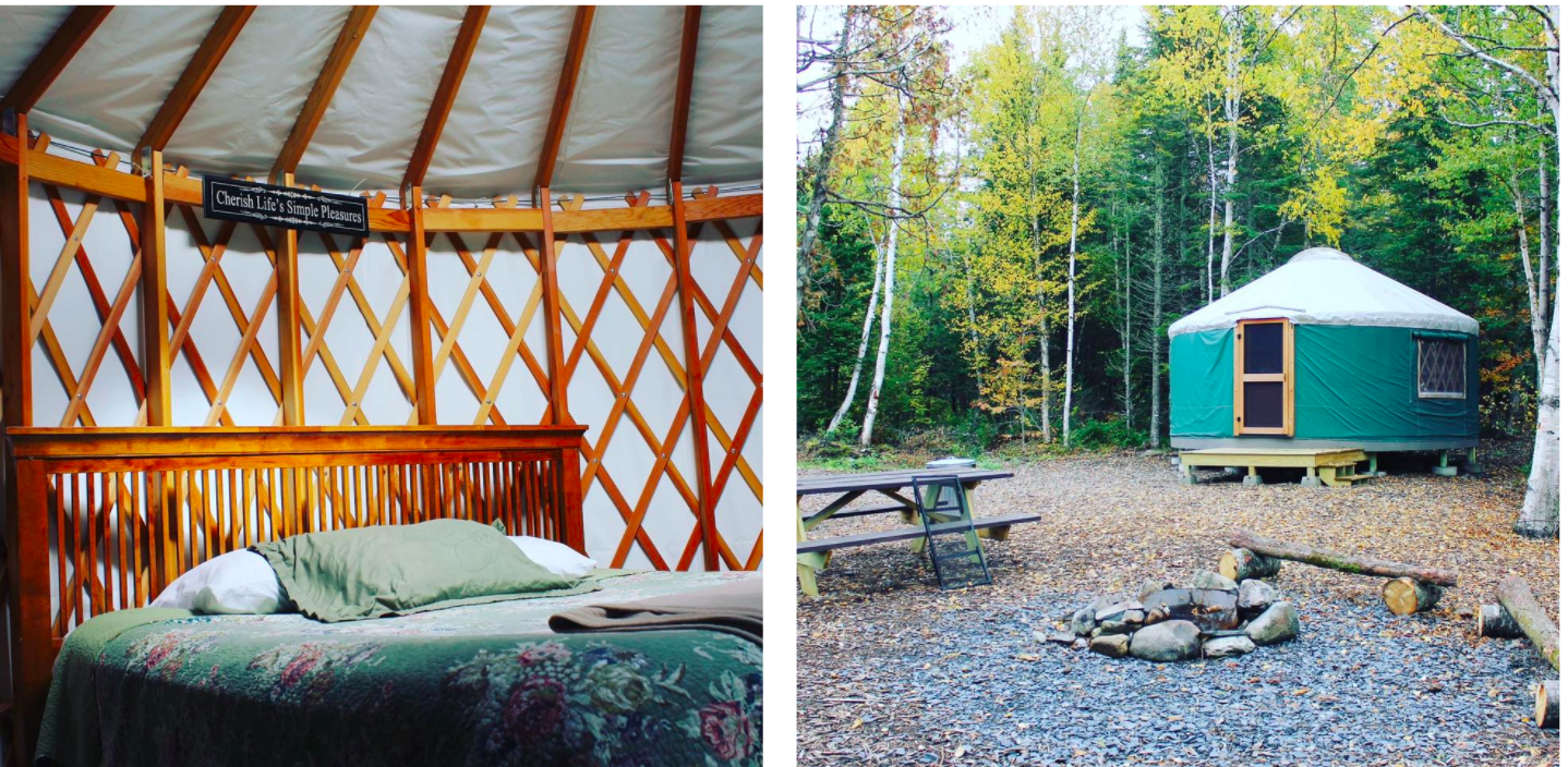 side-by-side of inside and outside of yurt in maine