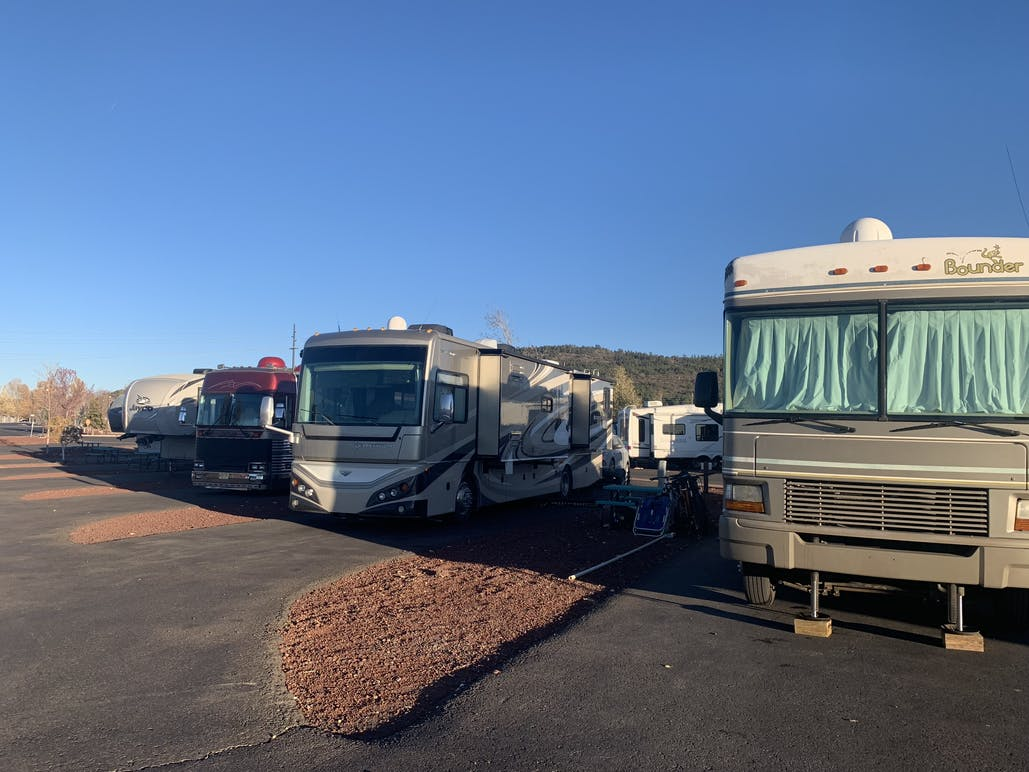 row of RVs parked at RV park