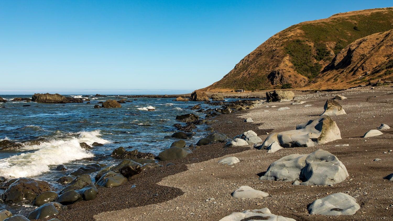 beach and rocks at lost coast