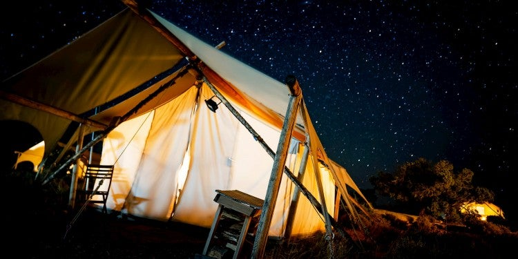utah glamping tent at night