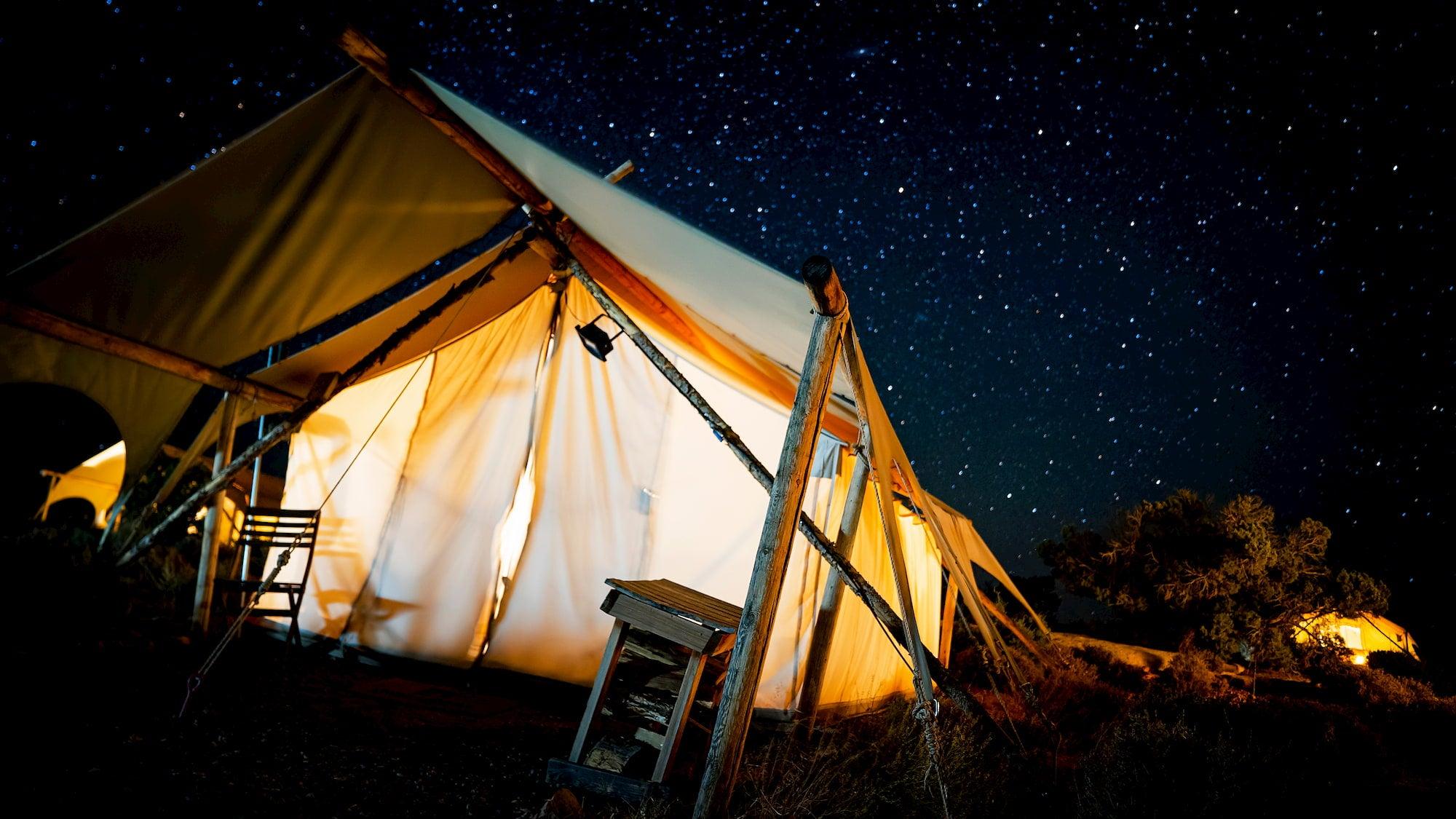 utah glamping tent at night
