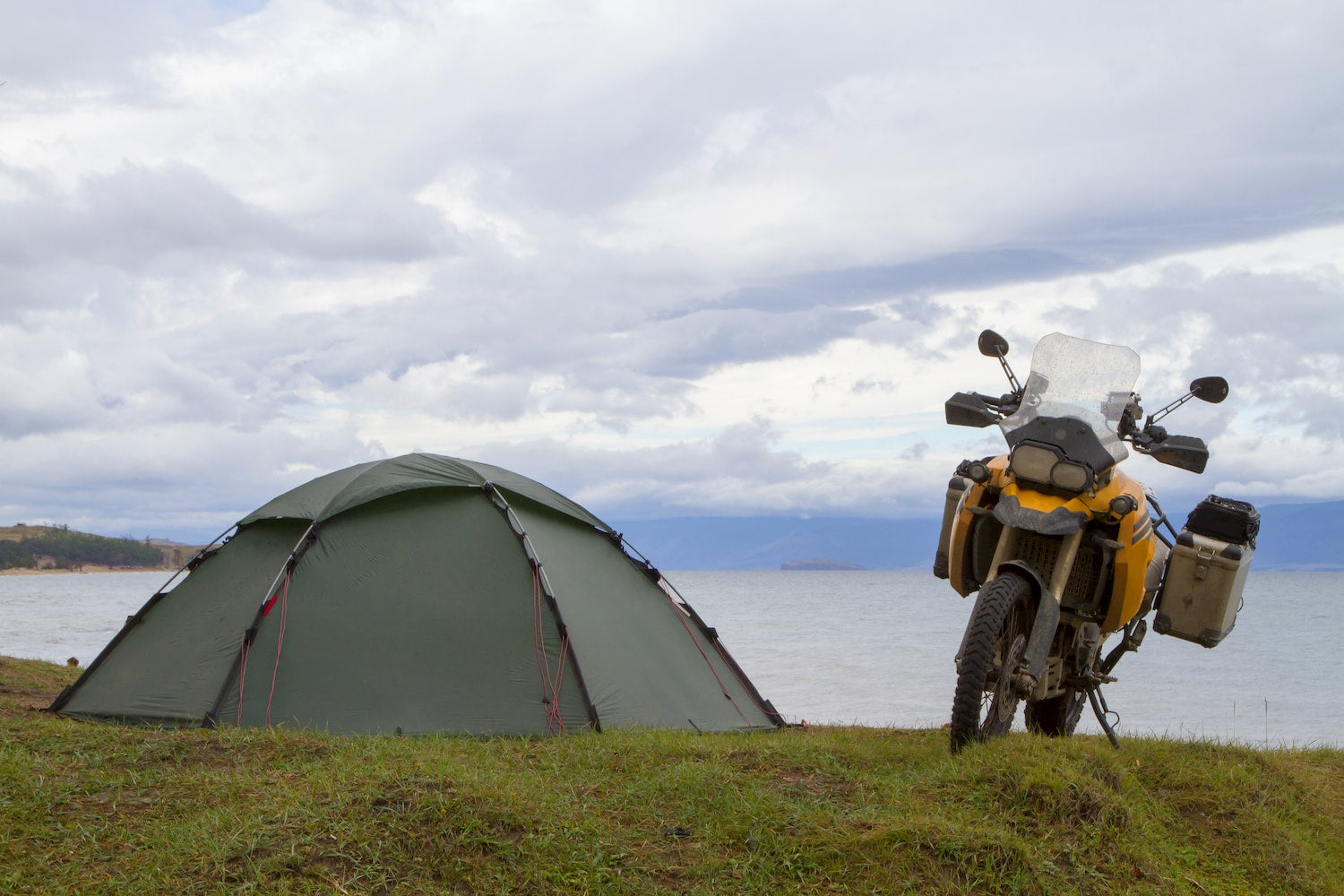 tent and motorcycle
