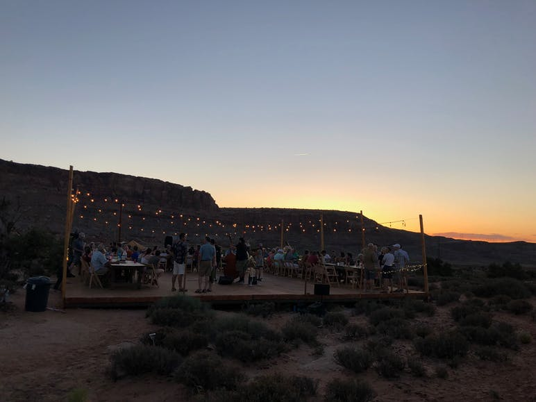 under cavas moab at dusk