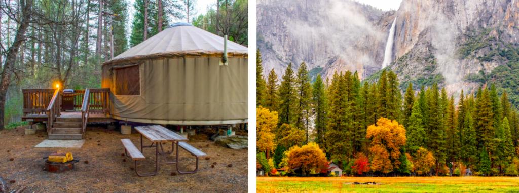 side-by-side of yosemite yurt and yosemite valley