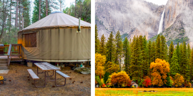 side-by-side of yosemite yurt and yosemite valley