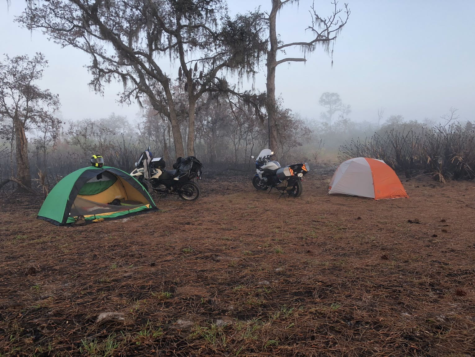 Two motorcycles parked besides two small tents in a foggy campsite.