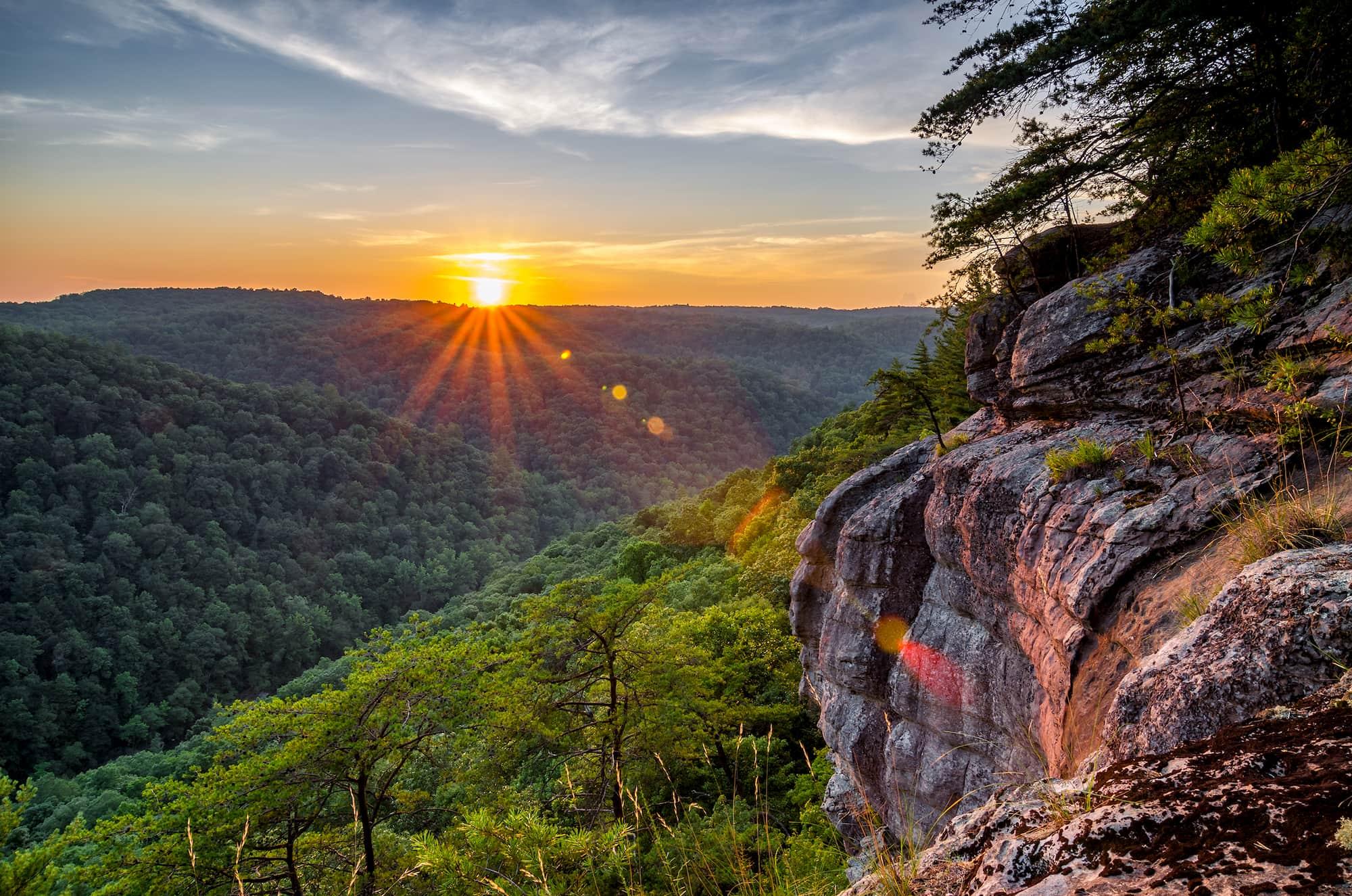 sunset over big south fork national river