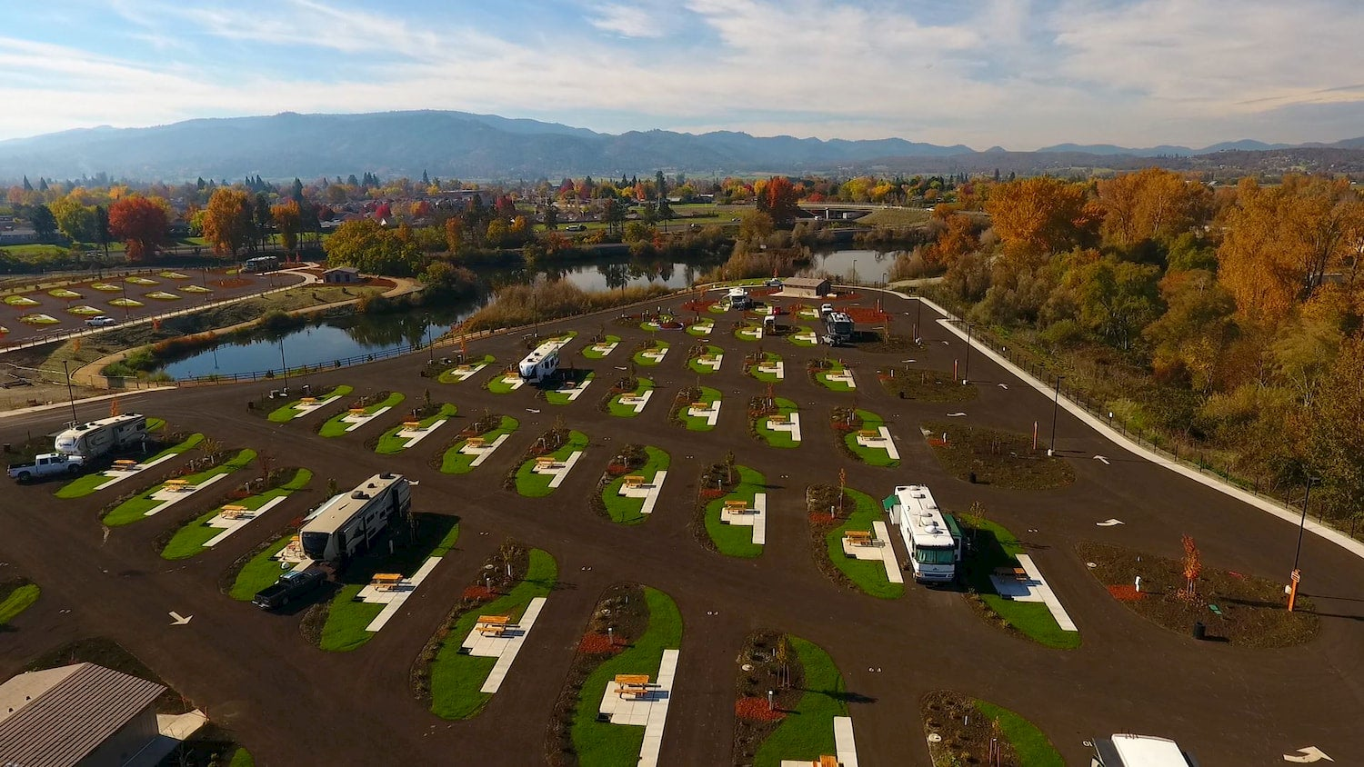 overview of rv sites at campground