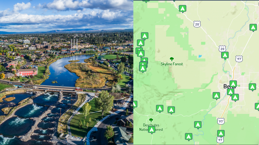 side by side images of an overview of bend, oregon and a map of bend, oregon